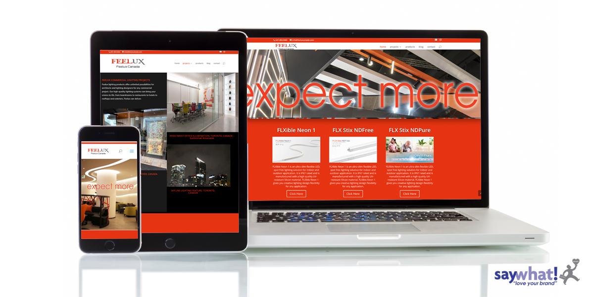 Feelux lighting website on 3 screens