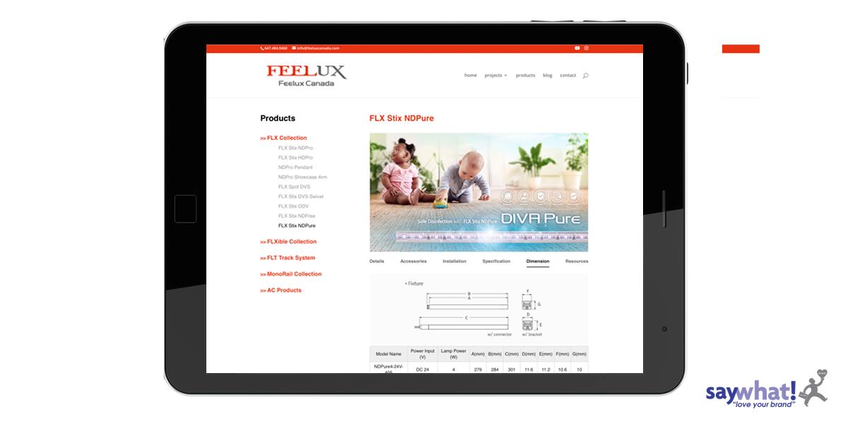 feelux lighting website on iPad